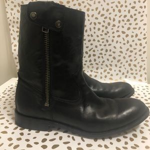 MENS Black leather FRYE BOOTS SIZE 9.5